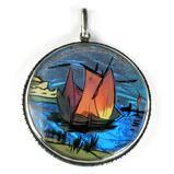 Sailing Ship Sterling Butterfly Wing Pendant